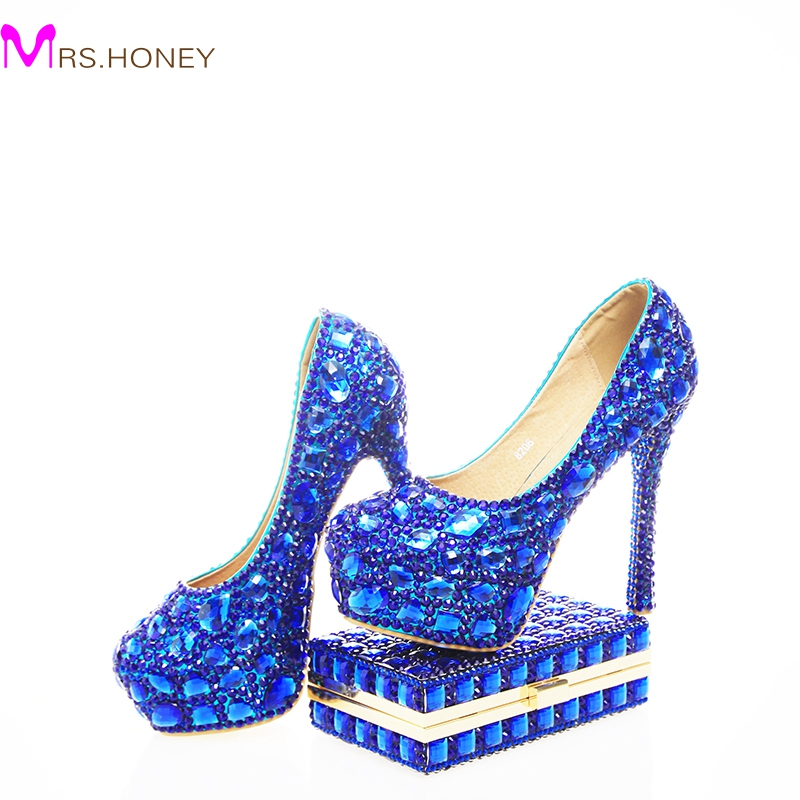 2017 Blue Rhinestone Wedding Heels with Fashion Crystal Matching Bag Party High Heels with Clutch Bridal Shoes Lady Prom Pumps free shipping sparkly silver crystal and rhinestone high heels with spikes ultra high heels shoes for wedding party prom
