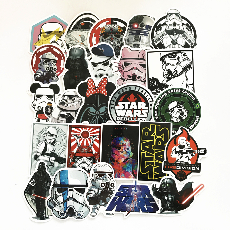 25Pcs/Lot Star Wars Stickers Decal For for Snowboard Laptop Luggage Car Fridge Car- Styling Sticker Pegatina 14cm 9cm fashion x wing star wars funny vinyl car styling decal car stickers black silver s6 3687
