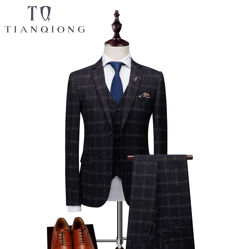 Brand Men Suit 2018 Latest Coat Pant Designs Classic 3 Piece Men's Wedding Groom Suits Slim Fit Plaid Suits Jacket Pants Vest