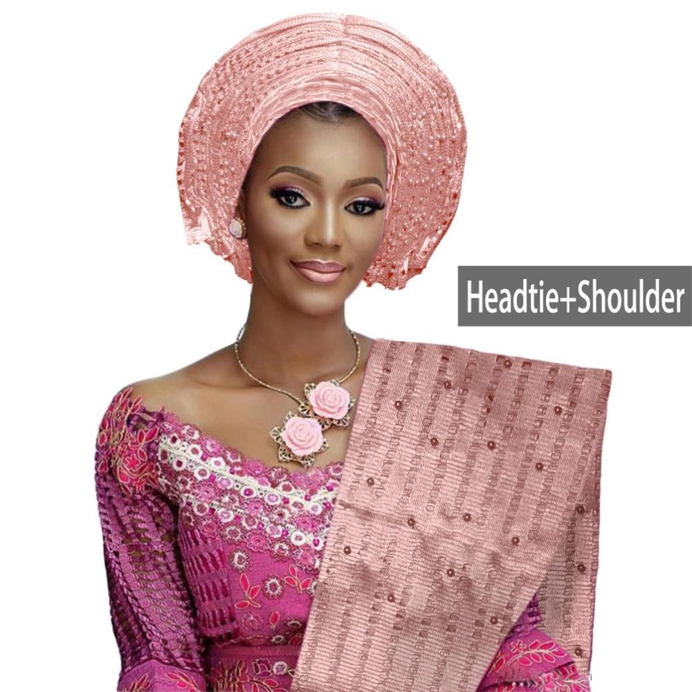 Nice Nigerian Gele Headtie Aso Oke Beaded Auto Gele Wedding Party African Headwrap With Shoulder