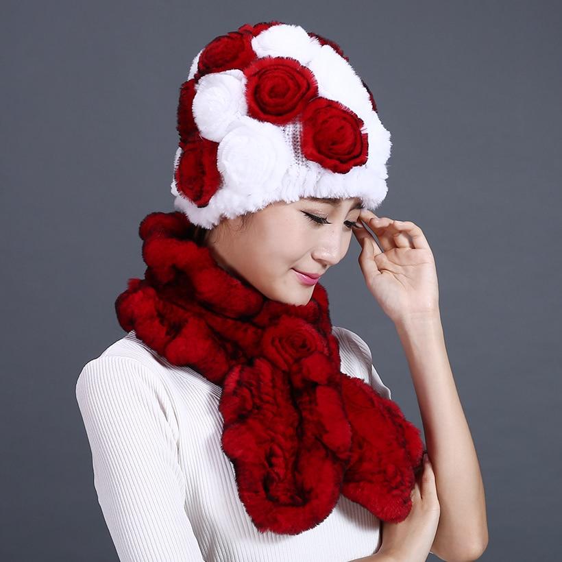 Sombreros y bufandas para mujer Piel de rex genuina Sombrero de flor - Accesorios para la ropa - foto 2