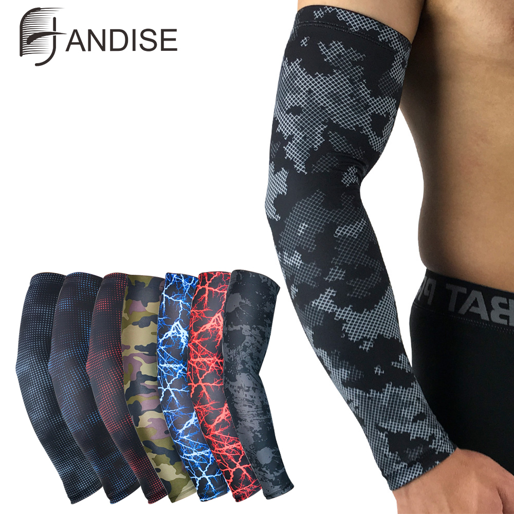 Men Sun Cycling Sleeves Arm Warmers Breathable Quick Dry UV Protection Camo Arm Sleeve Lycra Running Camping Golf Arm Covers