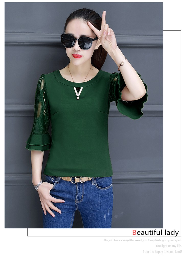 Women Blouse Summer Tops 2018 New Arrival Patchwork Blusas Mujer Lace Flare Sleeve Female Shirts Khaki Green Yellow  (9)
