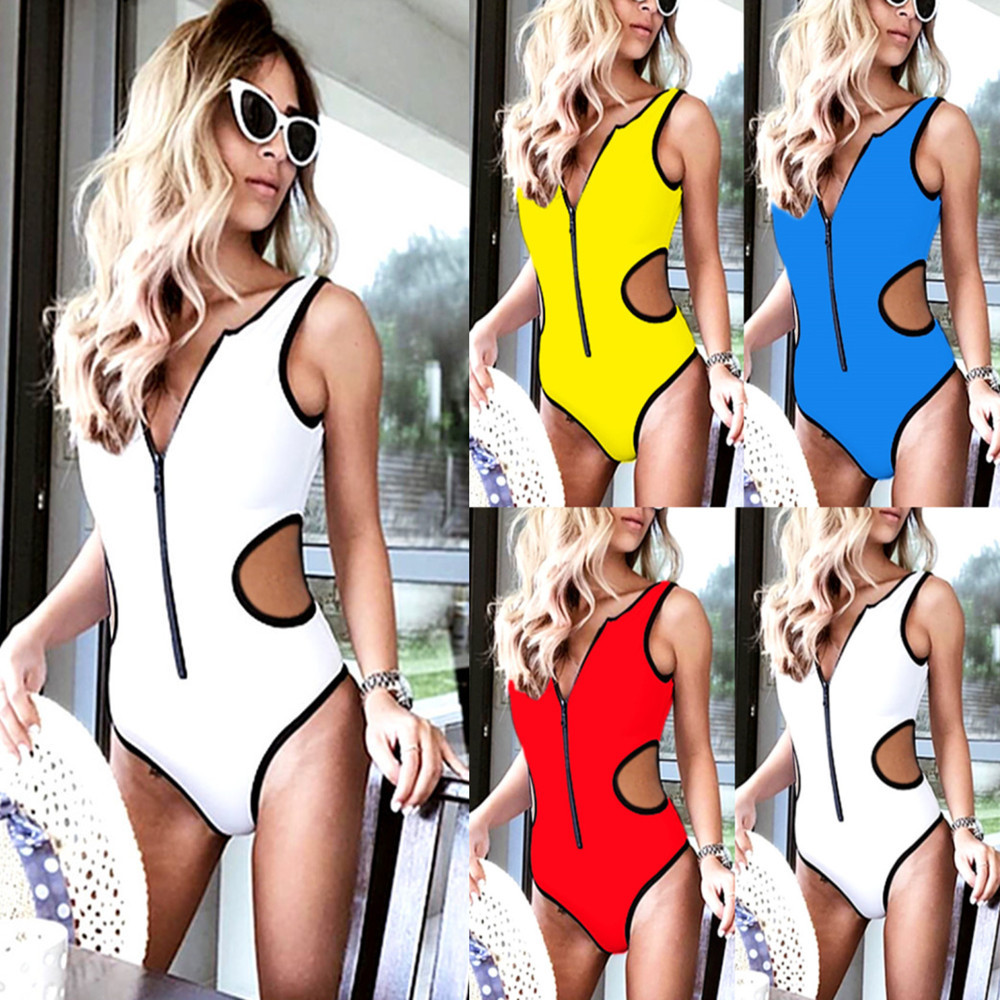 2018 Sexy Brazilian Swimwear Zipper Hollow Out Waist Yellow bikini Summer bathing suit push up sport bikini one piece swimsuit