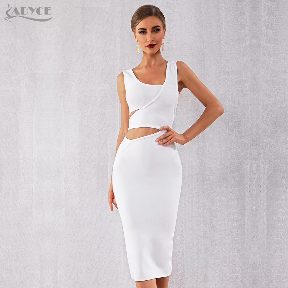 ADYCE 2019 New Summer Women White Club Bandage Dress Vestido Black Tank Sexy Hollow Out Sleeveless Bodycon Celebrity Party Dress