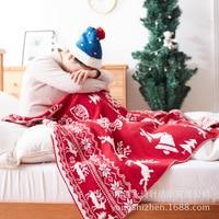 ZHH Cervatillo de Navidad Nieve Tiro Manta 100% Manta De Punto de Algodón Manta Adulto Primavera Otoño Sofá de Aire en la Cama Manta Cobertor