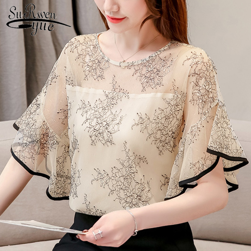 womens tops and   blouses   summer flare short sleeve women   shirts   Mesh stitching lace women   blouse     shirt   womens clothing 3546 50