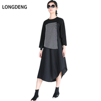 2018 New Style Spring Casual O Neck Long Sleeve Patchwork Stripe Dresses Large Size With Sashes
