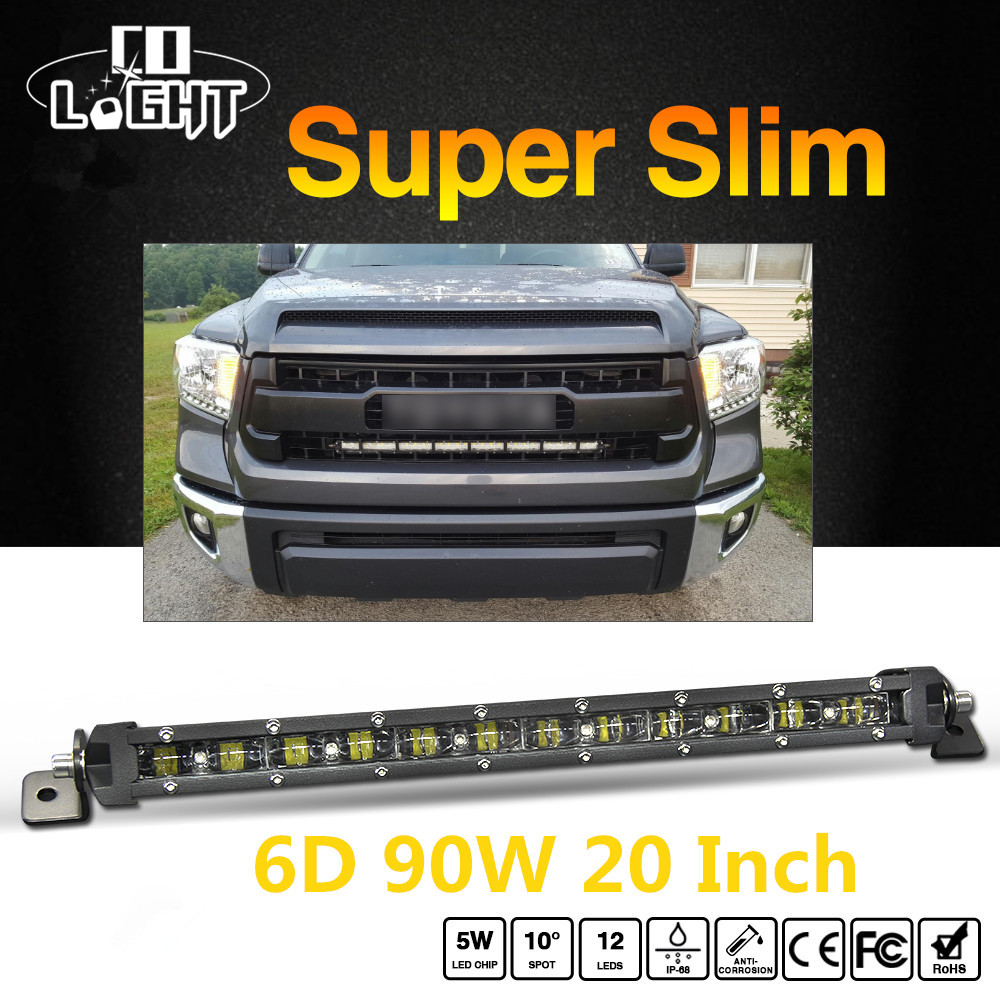 CO свет супер тонкий 6D 20 дюймов 90 Вт светодиодные бар Combo Led лучи авто света для Jeep ATV Лада Нива внедорожных 12 В 24 В привело бар