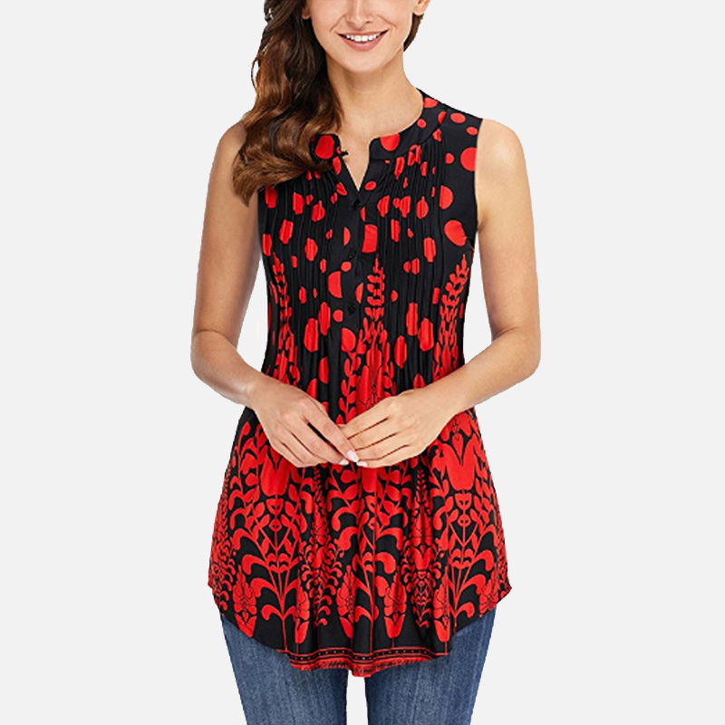Floral Tunic O-Neck Women's Shirt Clothing Folds Button 3/4 Sleeves Womens Tops And Clothes  2019 Spring Summer Shirts Plus Size