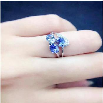 Tanzanite ring Free shipping Real and natural tanzanite 925 sterling silver  Fine women jewelry  4*6mm 3pcs