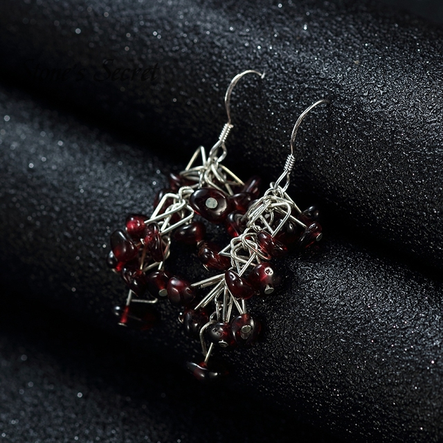 Unique Design Elegant Genuine Garnet Grape String Shaped Chandelier Earrings for Women Natural Healing Stone Fine Jewelry