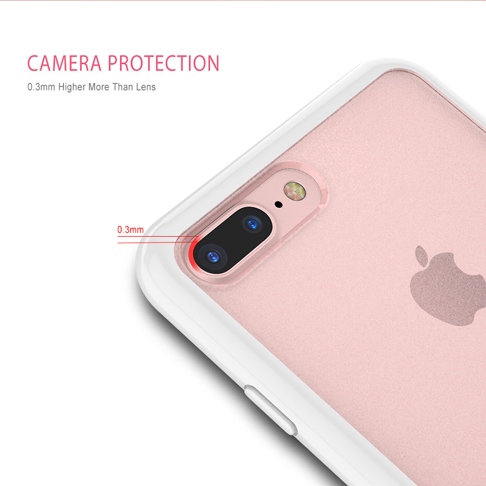 MR.YI Candy Color Frame Phone Case For iPhone 7 For iPhone 7 Plus Colorful Matte Clear Transparent Cover Case For iPhone 7 Plus (5)