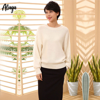 100% Goat Cashmere Korean Oversize Sweater White Pullover Batwing Sleeves Loose Knitted Ladies Autumn Winter Cashmere Jumpers