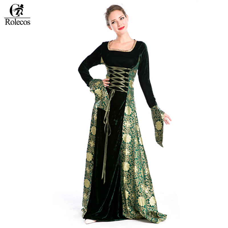 Rolecos 2017 Women Retro Palace Party Dress Evening Dress Medieval Renaissance Victorian Dress Costume Ball Gown Dresses