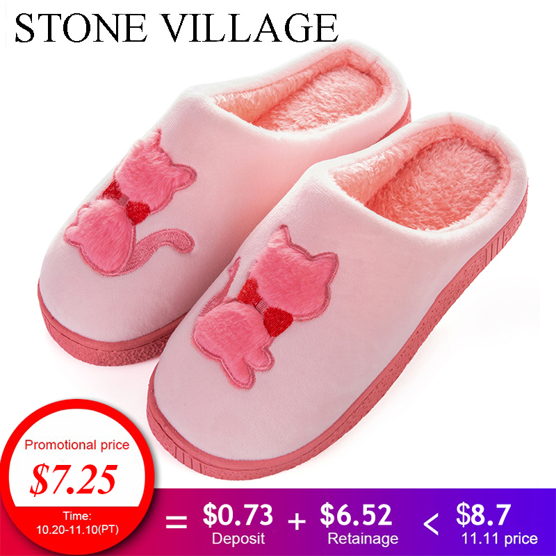 STONE VILLAGE Large Size 36-45 Cartoon Cat Non-Slip Warm Home Slippers For Lovers Winter Men Women Slippers Shoes Indoor Shoes 2x3 tsa96p3 90x60 см