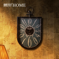 Home decoration wall clock vintage retro finishing watch iron decoration props