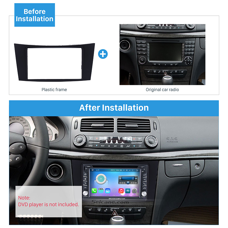 Us 15 49 18 Off Seicane Refitting Cd Trim Auto Radio Dash Kit Double Din Car Stereo Panel Fascia For Mercedes Benz E Class W211 Cls Class C219 In