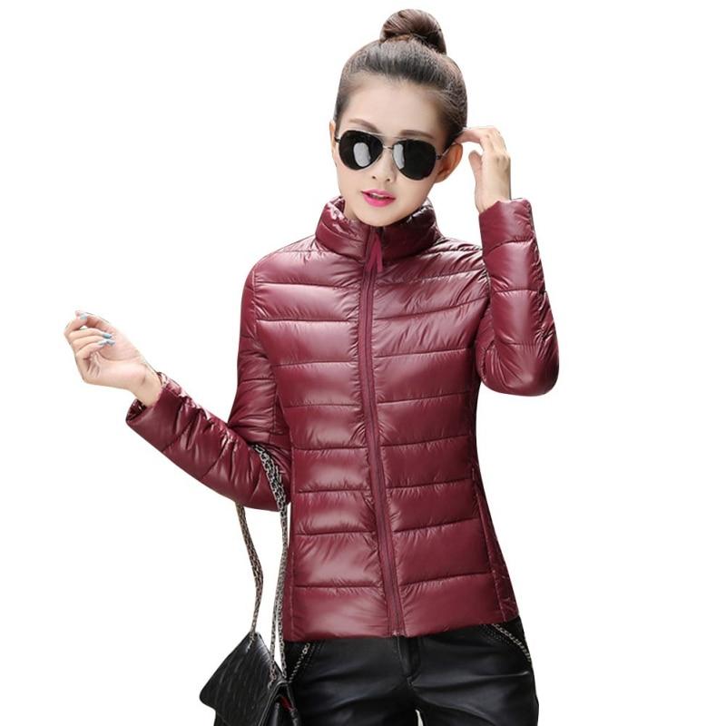 2018 Winter Women Warm Ultra Light Cotton Padded Long Sleeve Zipper Parka Jacket Outwear Coat