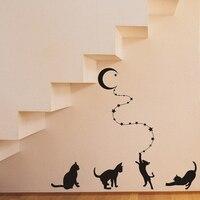 JJRUI Katzen Erreichen Der Mond Wandaufkleber Aufkleber Home Decor Für Wohnzimmer Schlafzimmer Studie Wandkunst Aufkleber Dekoration