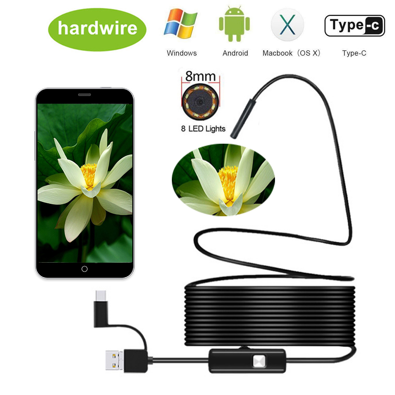 1080P Android 8MM Video Camera IP67  Micro USB Type-c USB 3-in-1 Computer Endoscope Borescope Tube Waterproof USB Inspection