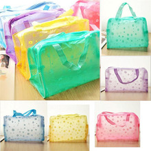 High Quality Portable Travel Cosmetic Bag Waterproof Toiletry Bathing Transparent Case Flower Printed Women Makeup