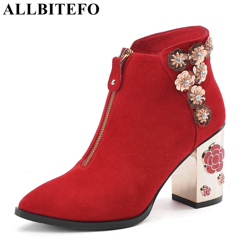 ALLBITEFO Hollow heel design Nubuck leather pointed toe flowers wedding shoes thick heel ladies boots women