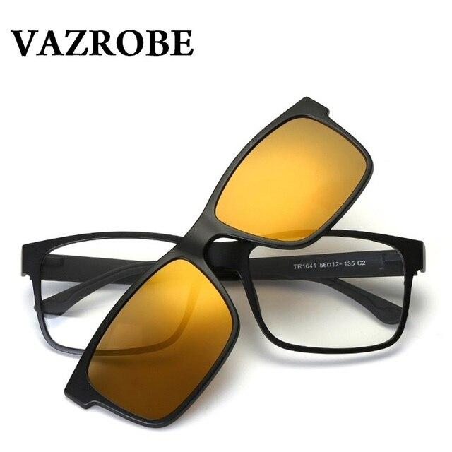 4a3e61b47ca7f Vazão Clip on Óculos Polarizados Homens Mulheres óculos de armação de Óculos  de Sol para Homem