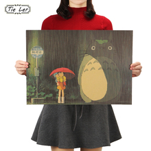 TIE LER Vintage Cartoon Anime Totoro Poster Home Decor Retro Kraft Paper Wall Sticker Decorative Paintings 51.5X36cm
