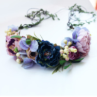 Party Floral Headband Wreath Hairband Wedding Bridal Bridesmaid Headdress Flower Hair Accessories Wedding Flower Crown Garlands