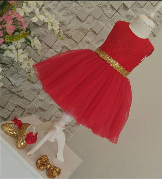 Red /Ivory scoop sheer lace flower girl dress with gold sequin bow formal gown for holy communion birthday prom