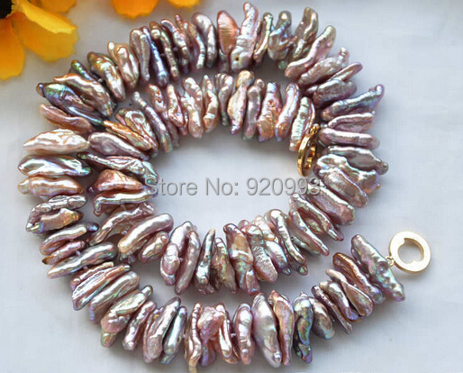 Wholesale&FREE P&P****New Style DENS LAVENDER BIWA FRESHWATER PEARL NECKLACE 17inch