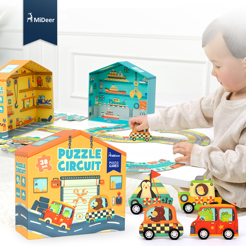 Children 3D Large Paper Puzzle Games 38pcs Puzzle Circuit Traffic Circular Orbit Baby Intelligence Educational Toys