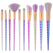 10pcs Unicorn Makeup Brushes set With Colorful Bristles Horn Shaped Handles Fantasy Tools Foundation Eyeshadow