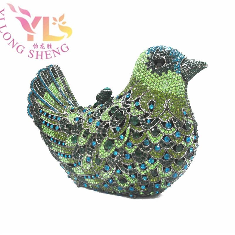 ФОТО Multi Green Fashion Crystal Bird Clutch Purse Ladies Handbags with Stones Diamond Evening Clutch Handbag