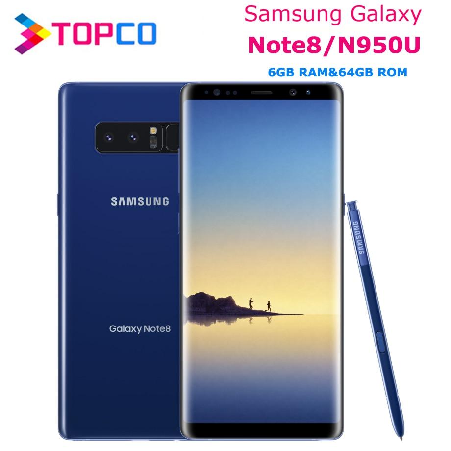 Разблокированный телефон Samsung Galaxy Note8, Note 8 N950U, 4G LTE, Android, Восьмиядерный, 6,3 дюйма, двойная задняя камера 12 МП, ОЗУ 6 ГБ, ПЗУ 64 ГБ, 3300 мАч