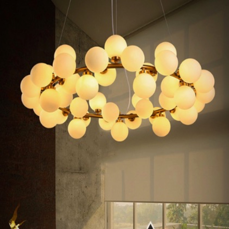 Modern Fashion Nordic Gold Iron White Glass Ball Modo Led Pendant Lamp For Living Room Dining Room Deco Lights 25/45 Heads 1689 modern fashion luxurious rectangle k9 crystal led e14 e12 6 heads pendant light for living room dining room bar deco 2239