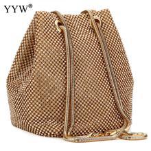 Lady diamentowa torebka wiadro Rhinestone sprzęgła Crossbody torby kobiety torba na ramię wieczór Party złoty łańcuch Tote 2018 moda srebrny