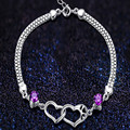 925 silver bracelet female fashion heart jewelry amethyst lettering day gift