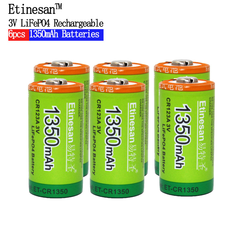 Etinesan 3V 1350mAh CR123A CR 123A LiFePo4 Li-ion Rechargeable Battery with 10A Discharge Current for Flashlight Toys