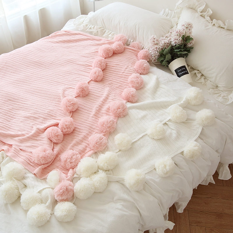 Autumn Winter baby Tassel ball Pink Blanket Cotton Knitted Blanket Baby Cotton Blanket For Bedding Sofa Throw nordic style cotton thread blanket thicken woven bed spread throw sofa cover blanket free shipping