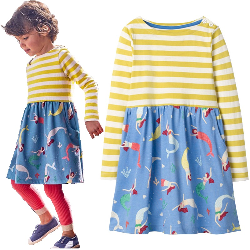 Mermaid Striped Baby Girl Dress Long Sleeve Children One-Piece Dresses Girls Jumpers Autumn Spring Kids Outfits Shirts 1-10 Year