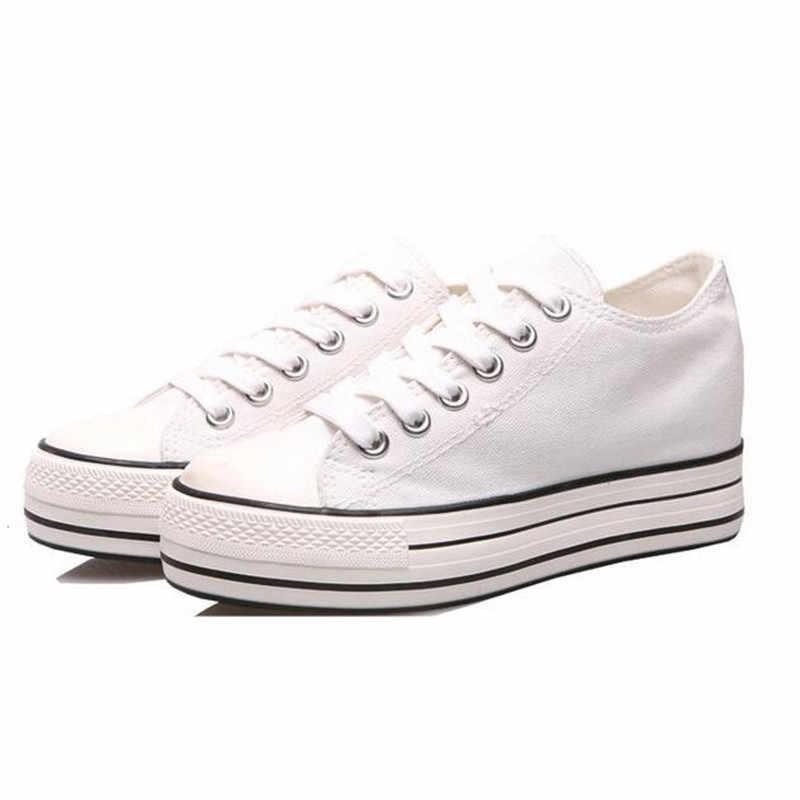 6 ซม.ผู้หญิงรองเท้าผ้าใบด้านล่างหนา DENIM WEDGE/ผ้า/ผ้า/ผ้า/ผ้า/ผ้า/ผ้า/ผ้า/ผ้า/ผ้า/ผ้าสำหรับรองเท้าสตรีรองเท้าผ้าใบแพลตฟอร์ม Beatherable ผู้หญิงรองเท้าสบายๆสีขาว