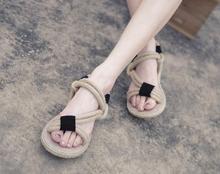 33-41 new cross straps retro female sandals handmade hemp rope woven beach wholesale black beige