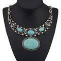 Retro Hollow Out Carved Flower Oval Turquoise Crystal Rhinestone Antique Pendant Necklace Women's Jewelry X572