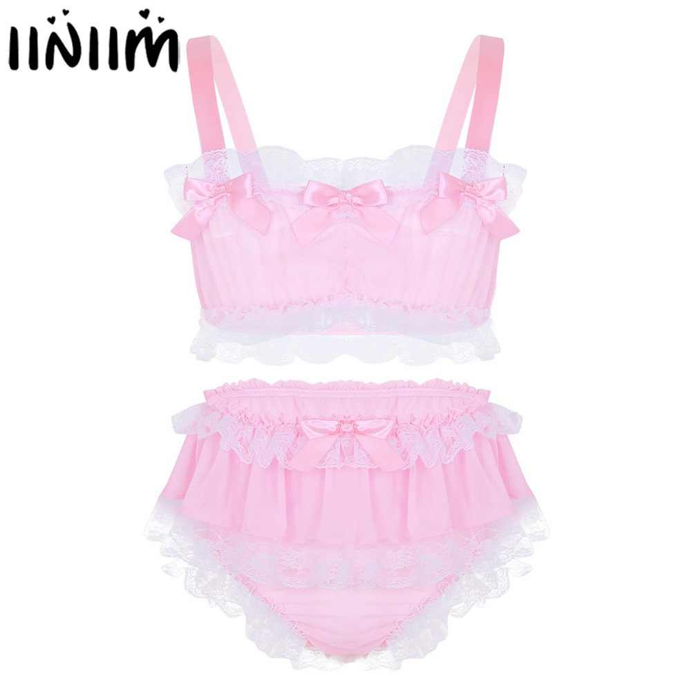 Detail Feedback Questions about Mens Sissy Fun Lingerie Set Ruffled Lace  Sheer Chiffon Sleeveless Crop Top with Skirted Panties Nightwear Male Sexy  ...