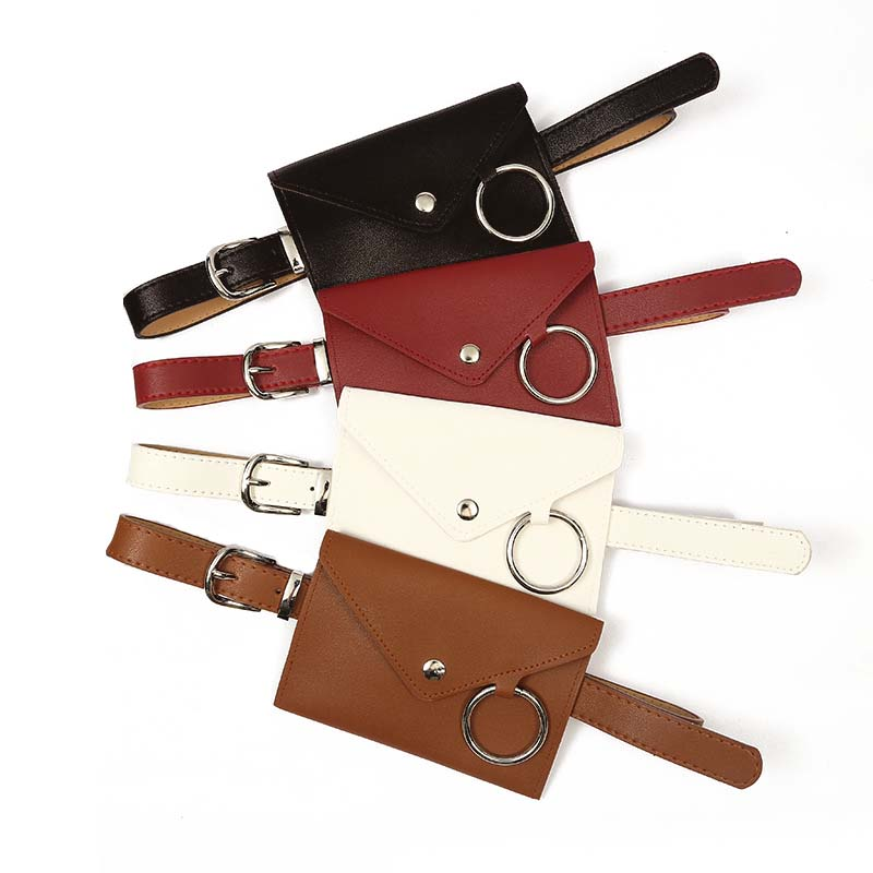 2019 Newest Casual High Quality PU Leather Waist Bag Fashion Women Pure Color Envelope Ring PU Messenger Shoulder Chest