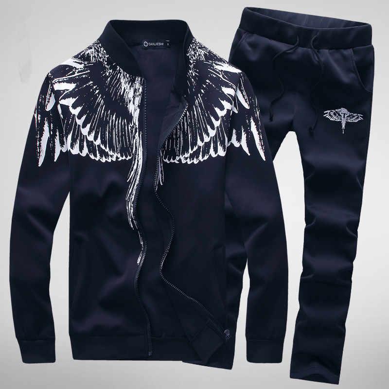 2019 ชายเสื้อ + กางเกงชุดฤดูใบไม้ผลิพิมพ์ Sudaderas Hombre Mens ชุดกีฬาแขนยาว Streetwear Tracksuits
