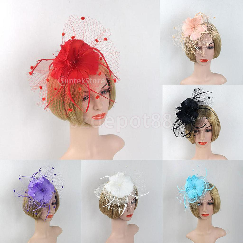 us $9.14 23% off|newest uk flower feather net fascinator headband wedding party race ascot for women ladies-in women's hair accessories from apparel