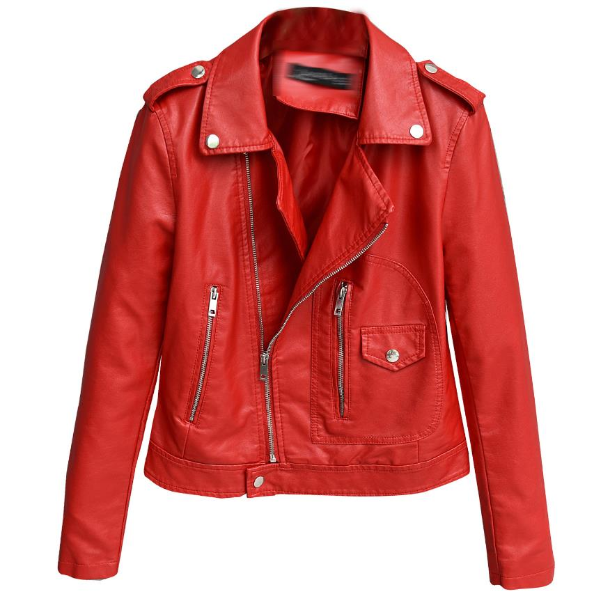 2018 New Autumn Witner Women Motorcycle Faux PU   Leather   Red Jackets Lady Outerwear Coat